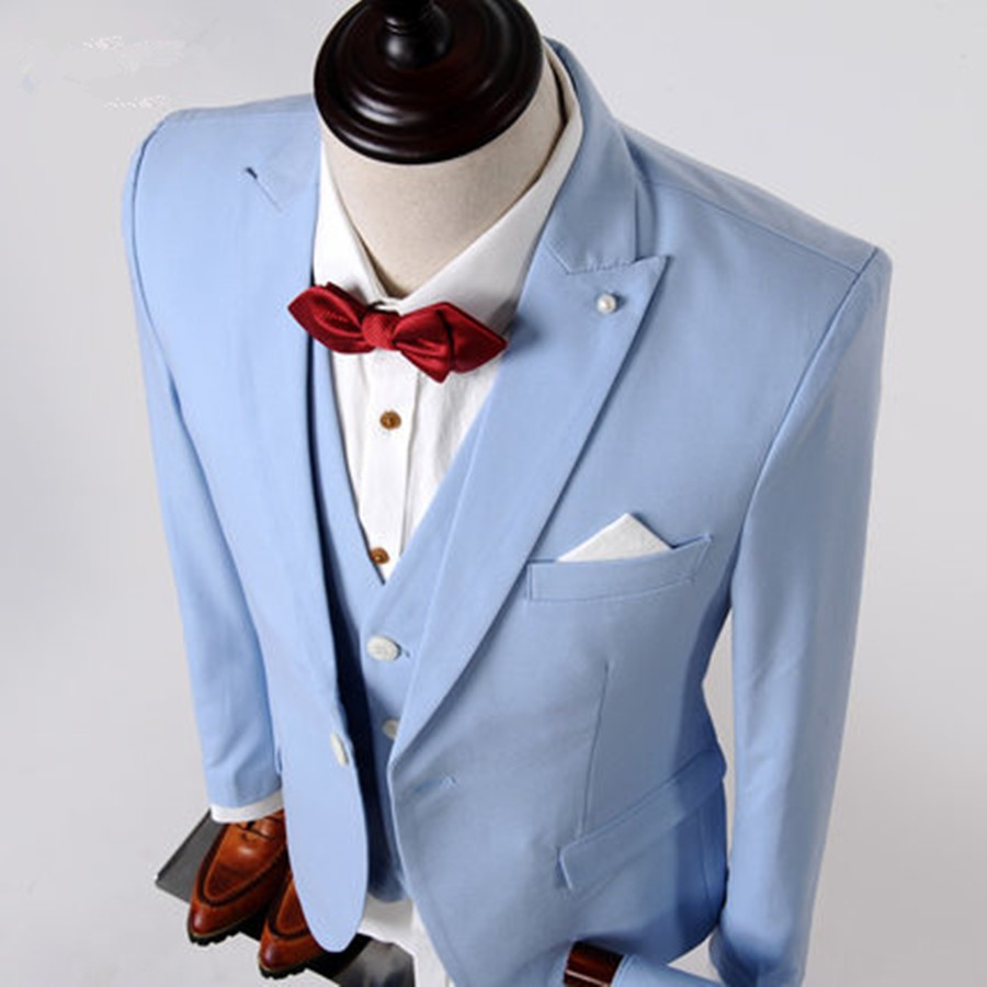 Actual Images 3Pieces Mens Wedding Tuxedos Sky Blue Groom Suits Back ...