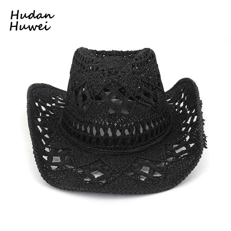 86317847d Summer Outdoor Men Women Western Cowboy Hats Hand woven Straw Hat ...