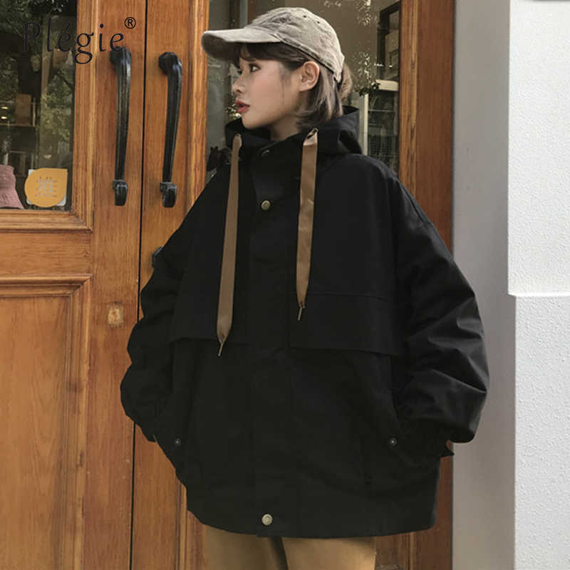Plegie Neue Frühling Mit Kapuze Bomber Jacke Frauen Unisex Lose Jacke Student BF Harajuku Mantel Übergroßen Jacke Weibliche Grundlegende Mäntel