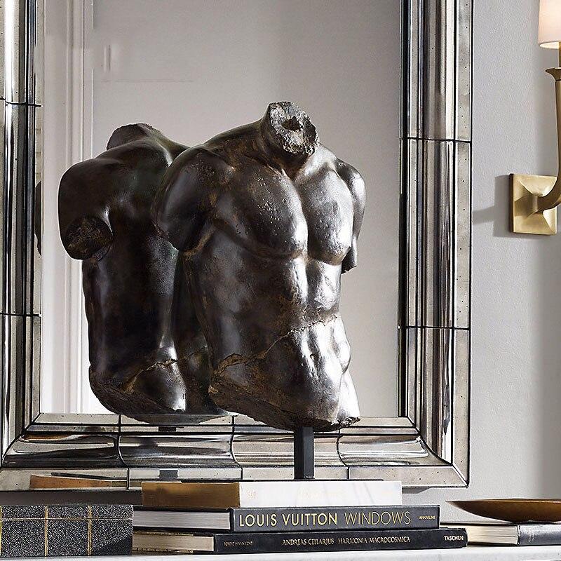 65cm corps Art lui-même nu antique Sculpture ornements forts abdominaux Muscles Statue Art décor à la maison accessoires Figurine artisanat