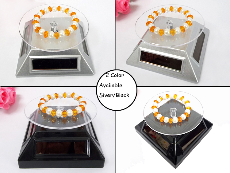 Retail Black Solar AAA 2-way Powered Solar Jewelry Display Stand for Phone Watch Bracelet Sunglasses Rotating Holder Turn Table