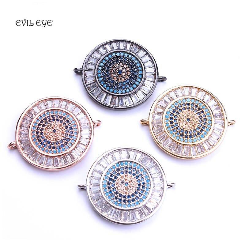 fc1e4cd9d770 1 unidad 21*26mm mal de ojo dijes colgante Micro pavé zirconia conectores  para pulsera collar ...