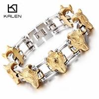 Kalen Gold Color Wolf Bracelets For Men Stainless Steel Bike Chain Animal Wolf Head Charm Bracelets & Bangles Rock Cool Jewelry