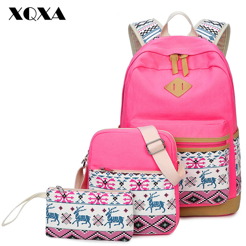 XQXA Printing Canvas Women s Backpack Teenager School Bag for Girls Back Pack 3 Sets Pink