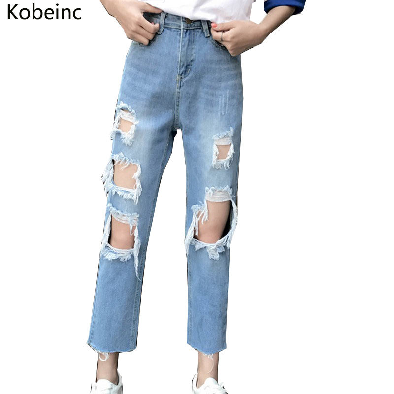 Kobeinc Ripped Ankle-Length Jeans for Women High Waist Denim Pants 2017 Autumn Vaqueros Mujer Plus Size Streetwear Jeans Female new autumn beadings bf women jeans high waisted pearls black jeans for ankle length boyfriend denim pants female