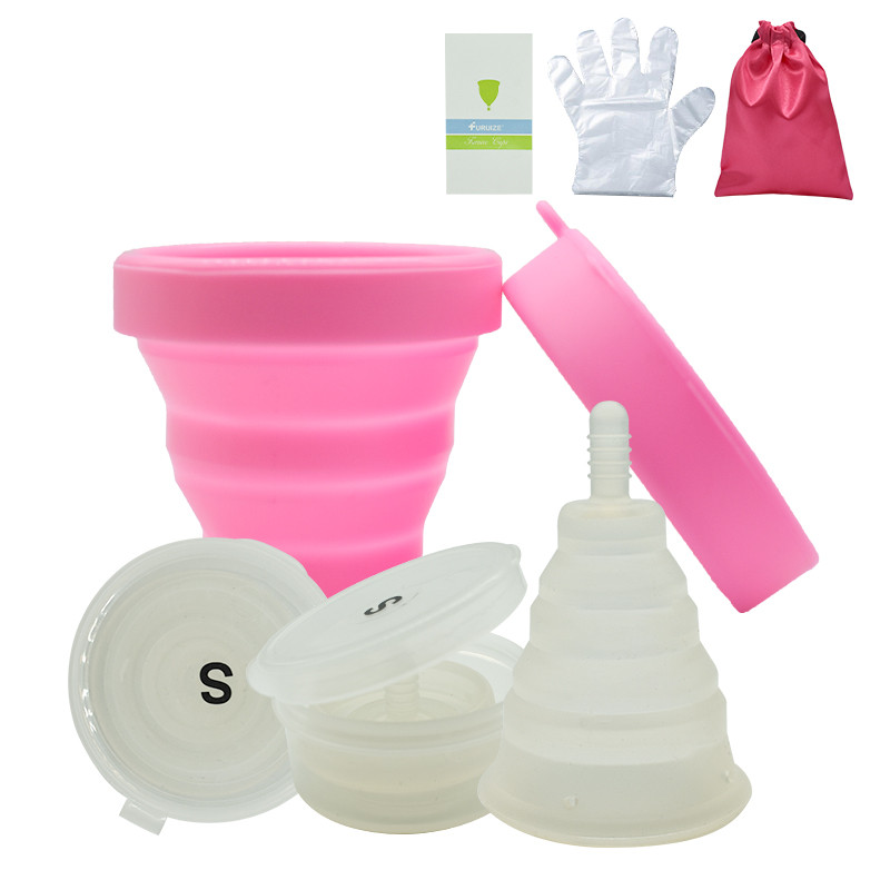 New Arrival Foldable Copa Menstrual Cup with Sterilizing Cup Feminine hygiene reusable Flexible Clean Lady Cup With Cloth Bag