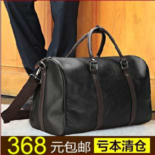 Free shipping 2017 brand large capacity luggage travel bag genuine leather gym bag shoulder handbag bags items TB55 free shipping vintage style mens genuine leather large luggage duffle gym bag shoulder tote handbag travel bag 3061 black