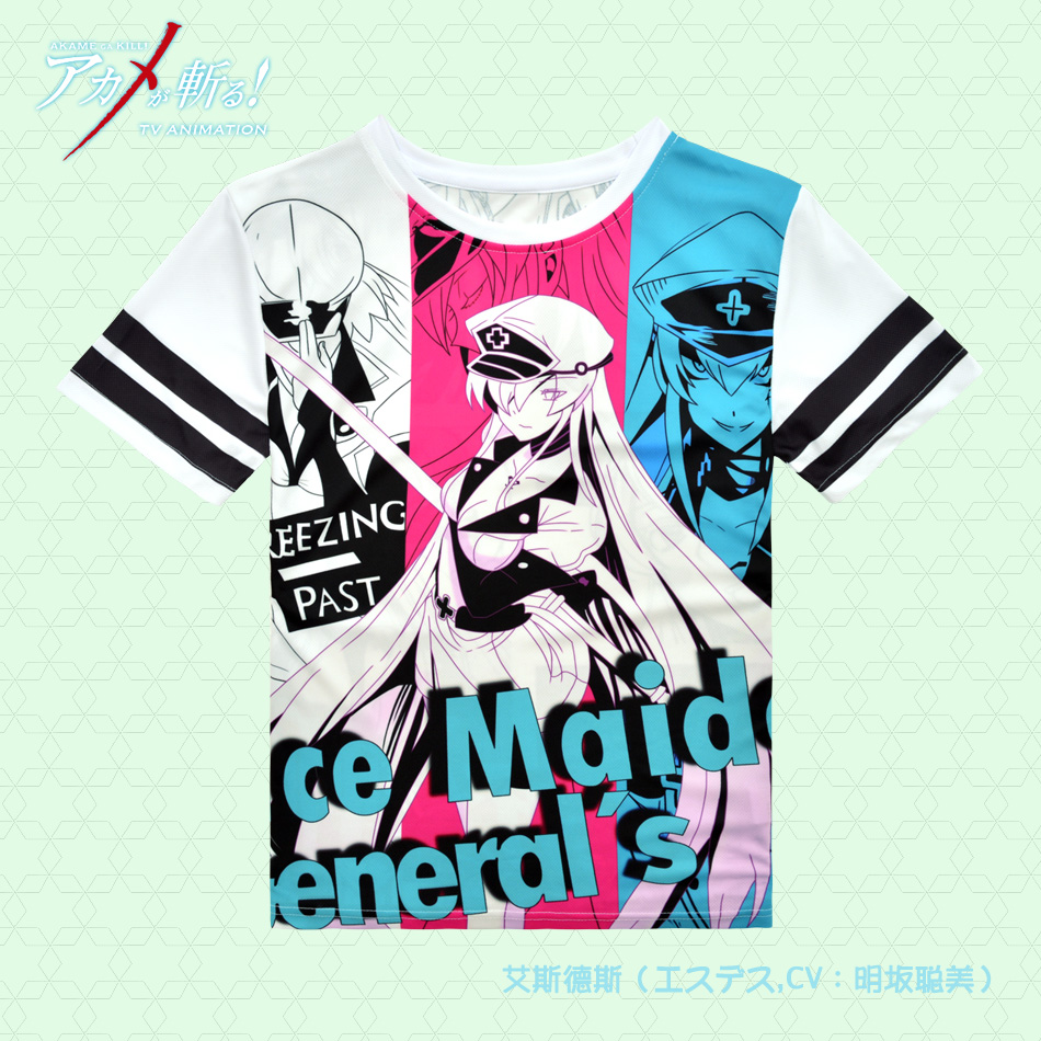 Akame ga KILL! Esdeath T shirt Anime Cosplay Costume short sleeve T-shirt Fashion Men Women Tees Tops