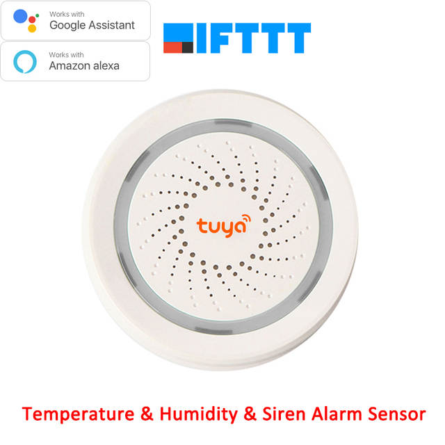 US $37 29 |Works with Amazon Google Home Assistant IFTTT Tuya Wireless WiFi  Siren Temperature Humidity Alarm Sensor-in Building Automation from