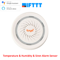 Works with Amazon Google Home Assistant IFTTT Tuya Wireless WiFi Siren Temperature Humidity Alarm Sensor