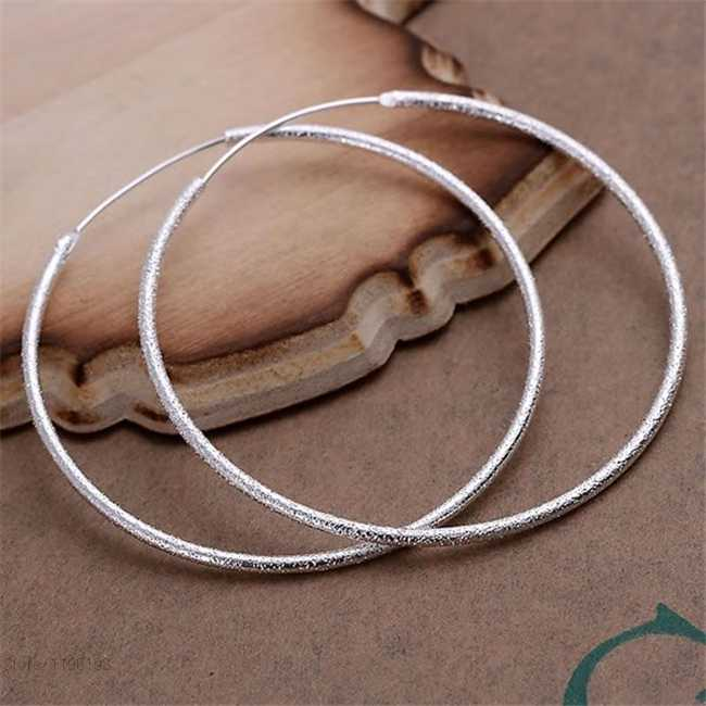 Scrub Round Creole Big Hoop Earrings for Women Silver Plated Round Earring European Brand Silver Fashion Jewelry Gift 2019