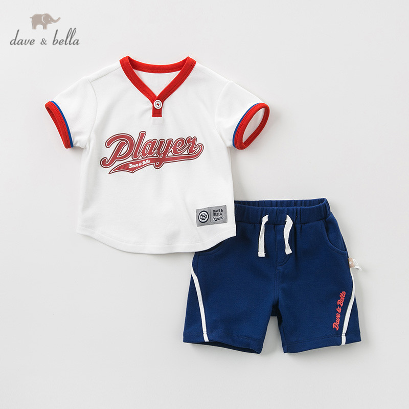 DBH10279 dave bella summer baby boys fashion clothing sets casual short sleeve suits children clothes