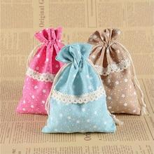50pcs 10x14cm  Five-pointed star Cotton Favor Gift Bag Printed Pentagonal Star Lace Bundle Jewelry