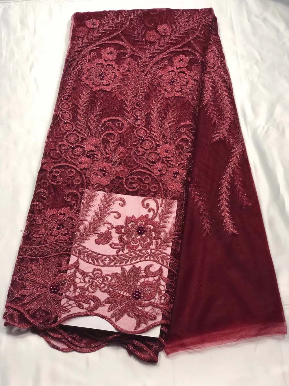 High quality french lace fabric with beads african tulle fabric Wine red nigerian lace fabrics 2018 green wedding lace fabricHigh quality french lace fabric with beads african tulle fabric Wine red nigerian lace fabrics 2018 green wedding lace fabric