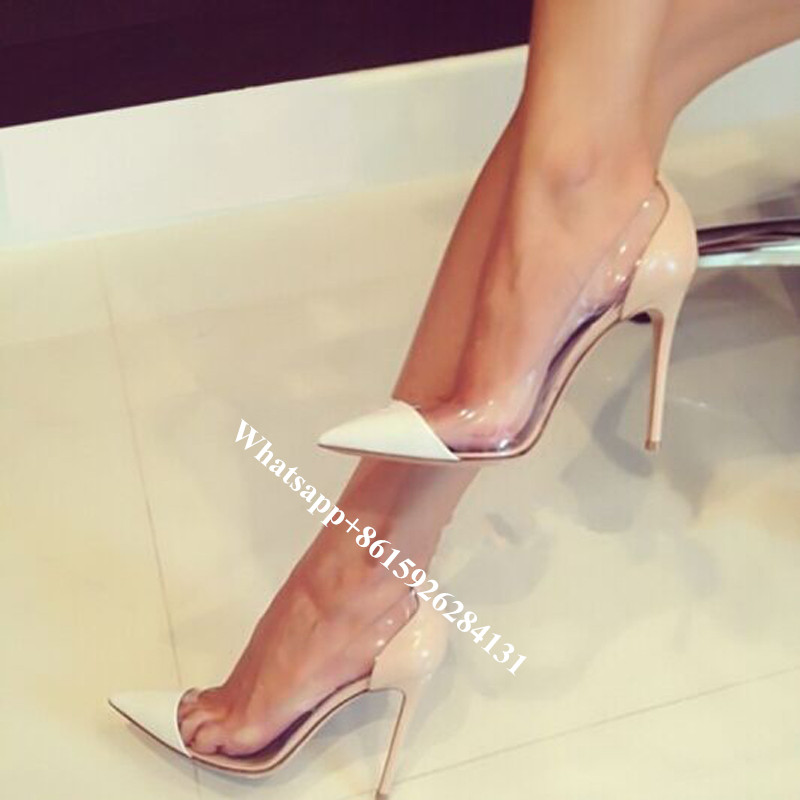 ФОТО Plexi Clear PVC Transparent Shoes Fashion Patent Leather Pointed Toe Party Pumps Women Slip On Bridal Wedding Stiletto Heels
