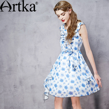 Artka Women's Summer New Floral Printed Ruffled Chiffon Dress Fashion O-Neck Sleeveless A-Line Dress With Sashes LA11953X