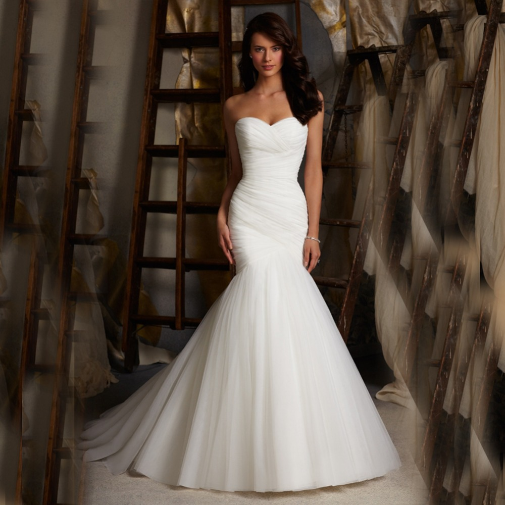 Lace Fit And Flare Wedding Gown: W175 Elegant Mermaid Church Sweetheart Bridal Gown Long