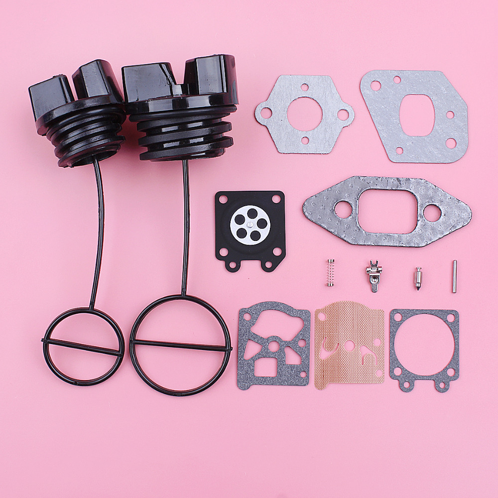 Carburetor Carb Gasket Repair Kit For Partner 350 351 370 Fuel Oil Tank Cap Chainsaw Replacement Spare Part