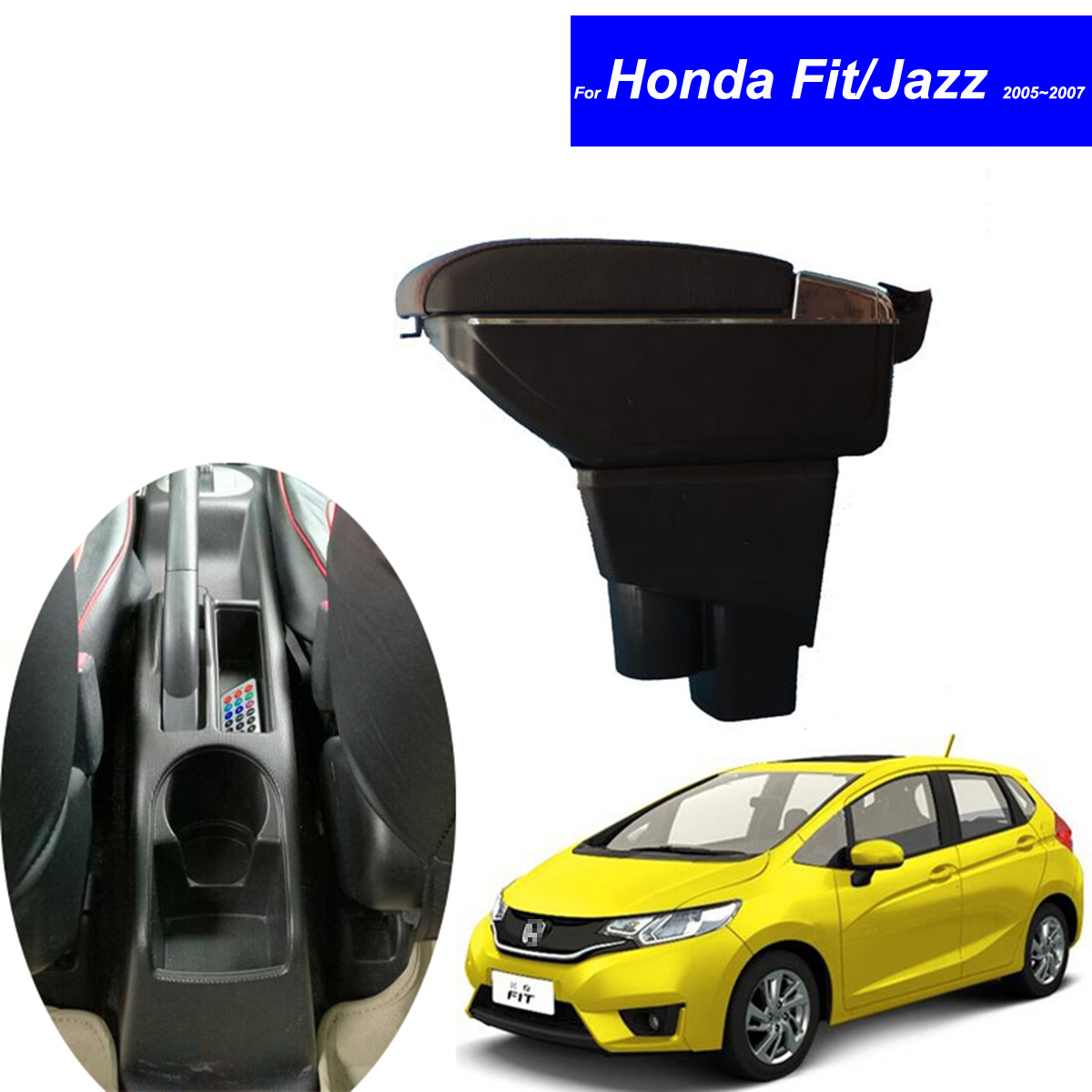 Leather car center console armrest box for honda fit jazz