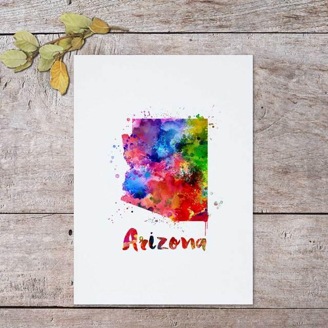 Us Map Artwork.Arizona Map Painting Watercolor Art Paint Arizona Decorative Friend