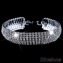 Women's Roman Golden Silver Rhinestone Wedding Party Mesh  Cuff Bangle Bracelet  1P53
