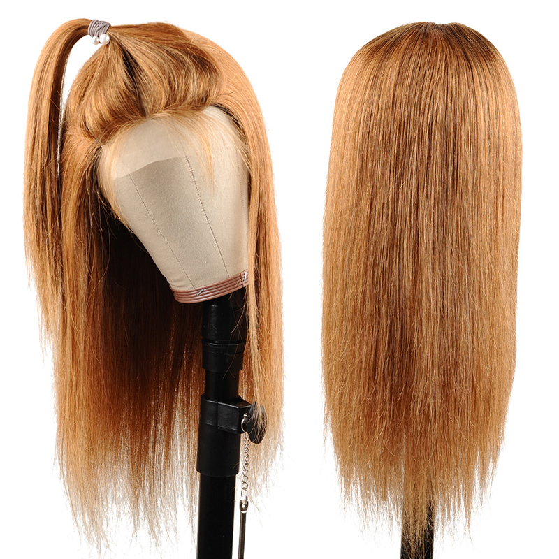 Image 4 - I Envy Blonde Lace Front Human Hair Wigs For Black Women Ombre Human Hair Wigs Straight Peruvian Honey Blonde Wigs #30 Non Remy-in Lace Front Wigs from Hair Extensions & Wigs