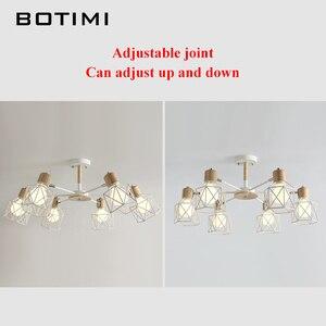 Image 3 - BOTIMI Lustre Wooden Chandelier For Living Room Iron Lampshade LED Chandelier Lighting Lustres Para Sala De Jantar Home Lamp