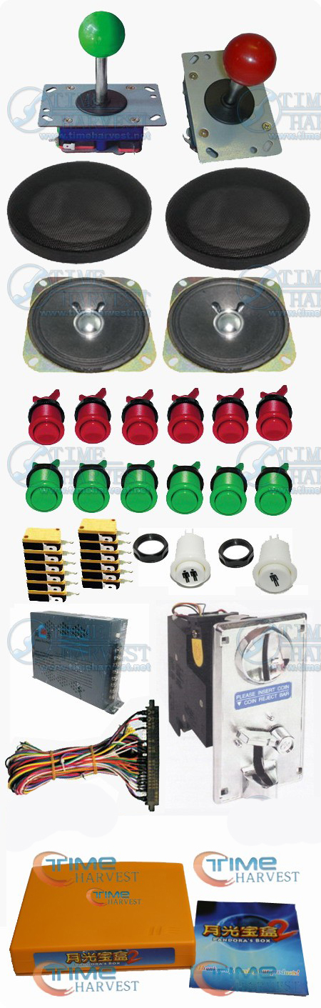 1set Arcade parts Bundles kit With 400 in1PCB,16A Power Supply,Joystick,button,coin acceptor ,Harness,Speaker for Arcade Machine