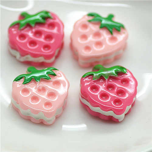 resin strawberry flat back cabochon for decoration 13*17mm 50pcs/lot