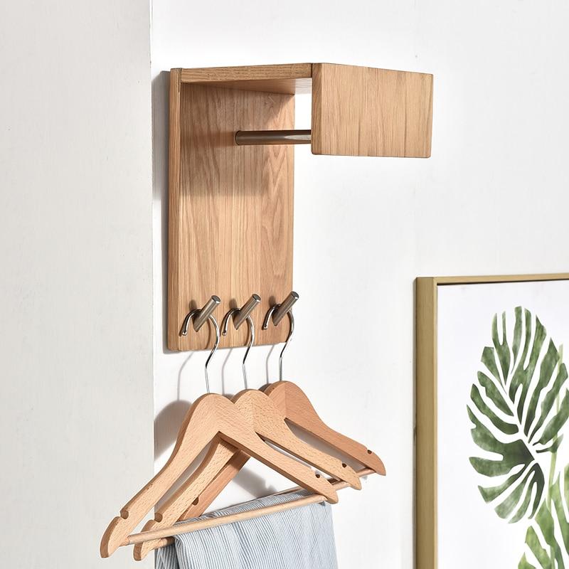 Wooden Wall hanger solid wood bedroom coat hooks creative living room porch corner wall hanging clothes hook rack mx6041115|Hooks & Rails| |  -
