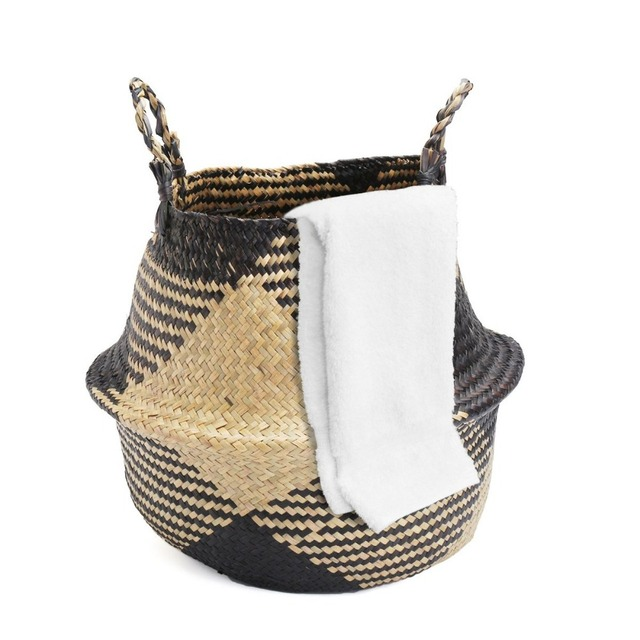 Laundry Basket 36x38cm Black Natural Rattan Flower Vase Planter Nursery Pots Belly Straw Toys