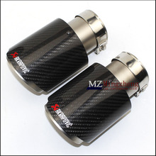 ФОТО 1pcs car styling carbon fiber + stainless steel universal auto akrapovic exhaust tip tailtip end pipe for bmw vw golf