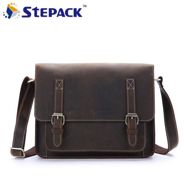 2017 New Vintage Crazy Horse Leather Men Bag Genuine Leather Cowhide Handbag Men's Briefcase Messenger Bag Shoulder Bag WMB0173