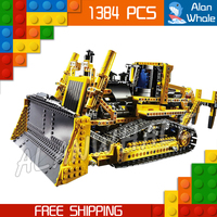 1384pcs New Techinic Remote Controlled Motorized Bulldozer 20008 DIY Model Building Kit Blocks Gifts Toys Compatible