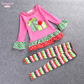 Free Shipping 2016 New Retail  Babys Christmas Clothes Long-Sleeve Girls Clothing Sets Kids Good Quality Suits outfit