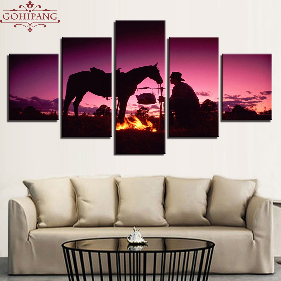 Gohipang Framed Canvas Painting Living Room Wall Art Framework 5 Pieces Sunset Dusk Knight Whit Horse Pictures HD Prints Poster