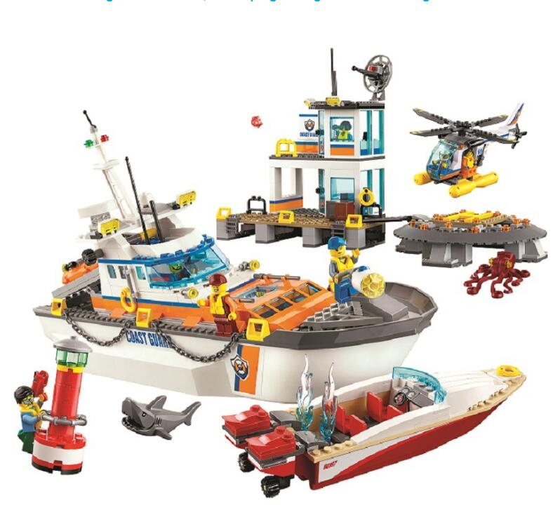 855pcs City Coast Guard Head Quarters building blocks DIY Educational bricks toys gift for children 60167 huimei city rail car diy model big building blocks bricks baby early educational learning gift toys for kids children