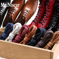 Mr.Niscar 1 Pair Round Waxed Shoelaces Leather Shoes Waterproof Cotton Shoe   Laces   Snow Martin Boots Bootlace Shoelace 60-180cm