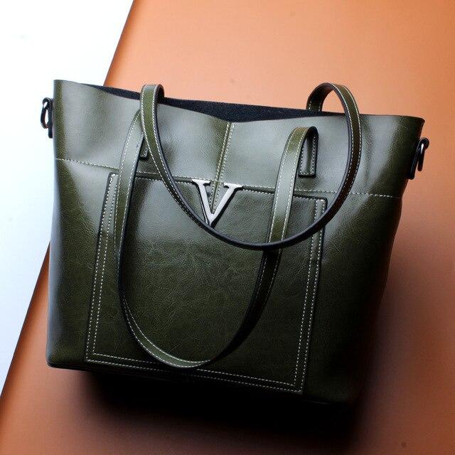 223945ac1d Top Quality Women s Genuine Leather Handbag 2018 High Quality Women  Shoulder Bag Luxury Brand Bucket Bag