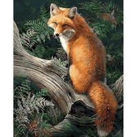 Frameless Picture Fox Animals DIY Painting By Numbers Modern Wall Art Canvas Painting For Unique Gift