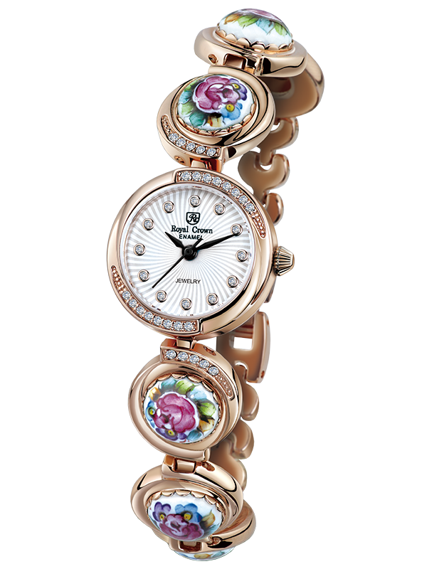 Royal Crown Jewelry Watch 6430 Italy brand Diamond Japan MIYOTA Rose gold Enamel Dress Watch Folk Style Lady Diamond Bracelet кольцо royal diamond