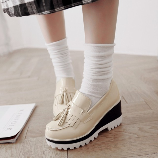 fashion tassel thick sole women wedges shoes ladies platform loafer slip on casual shoes black