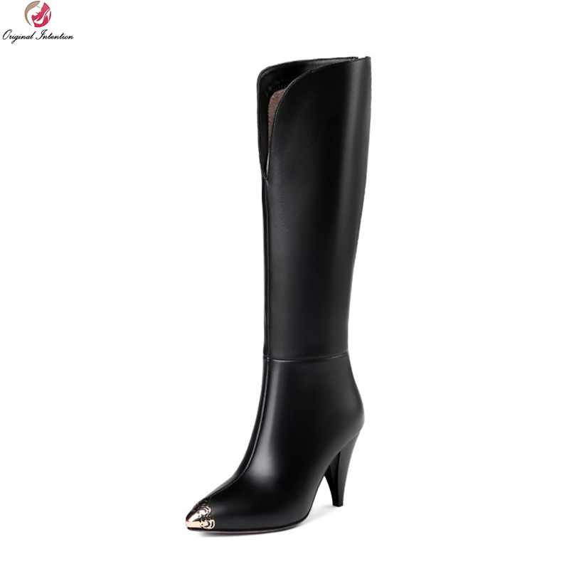 Original Intention Elegant Women Knee High Boots Leather Pointed Toe Spike Heels Boots Quality Black Shoes Woman US Size 3-13Original Intention Elegant Women Knee High Boots Leather Pointed Toe Spike Heels Boots Quality Black Shoes Woman US Size 3-13