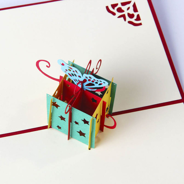 small invitation card 3d paper sculpture event party supplies christmas decorations new year kids gifts 2pcs