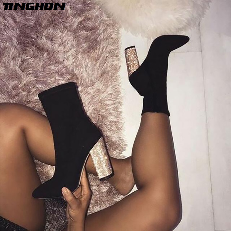 TINGHON New Autumn Winter Stretch Fabric Women Ankle High Booties Pointed Toe Glittering Square High Heels Short Boots Shoe in Ankle Boots from Shoes