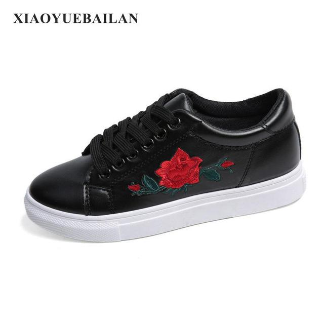 White shoes embroidered flowers fall casual shoes in womens white shoes embroidered flowers fall casual shoes mightylinksfo