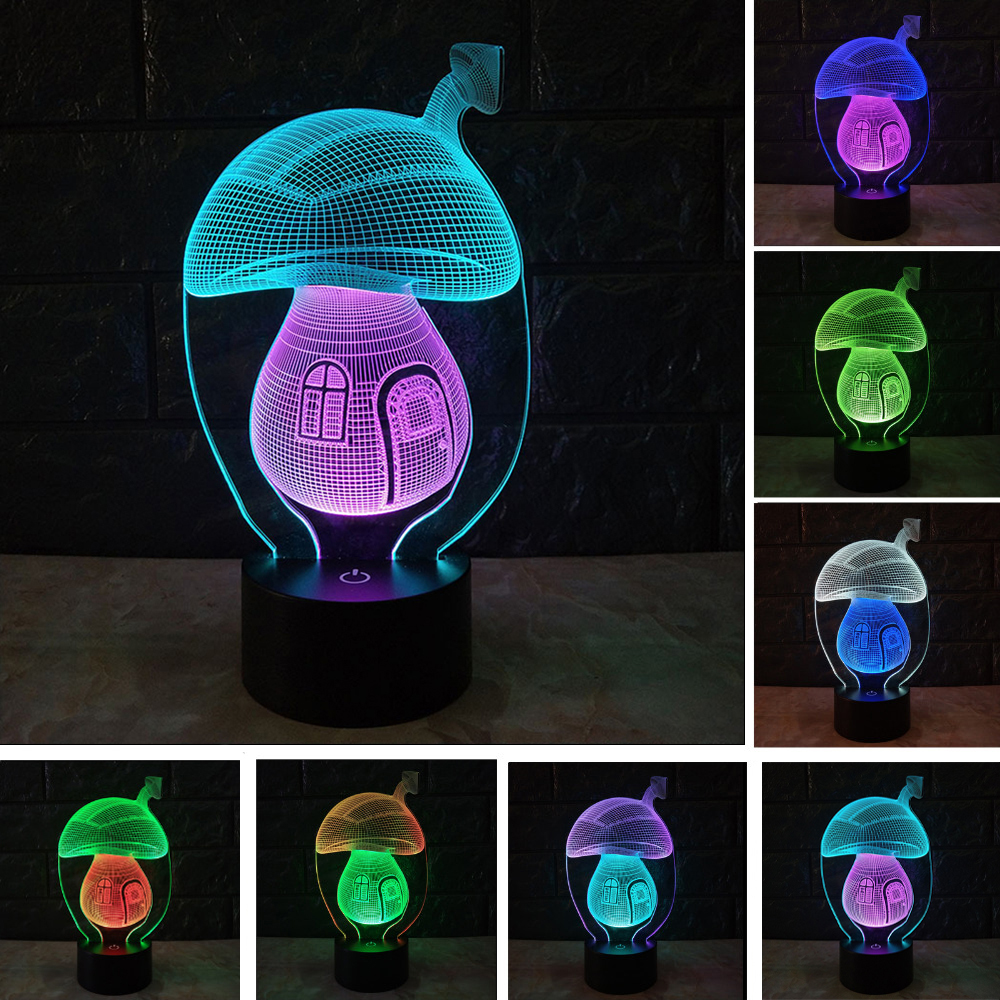 Jiaderui 2018 New Dichroic 3D Mushroom LED Table Lamp Baby Night Lights Color Changing USB Powered Home Decor Kids Children Gift