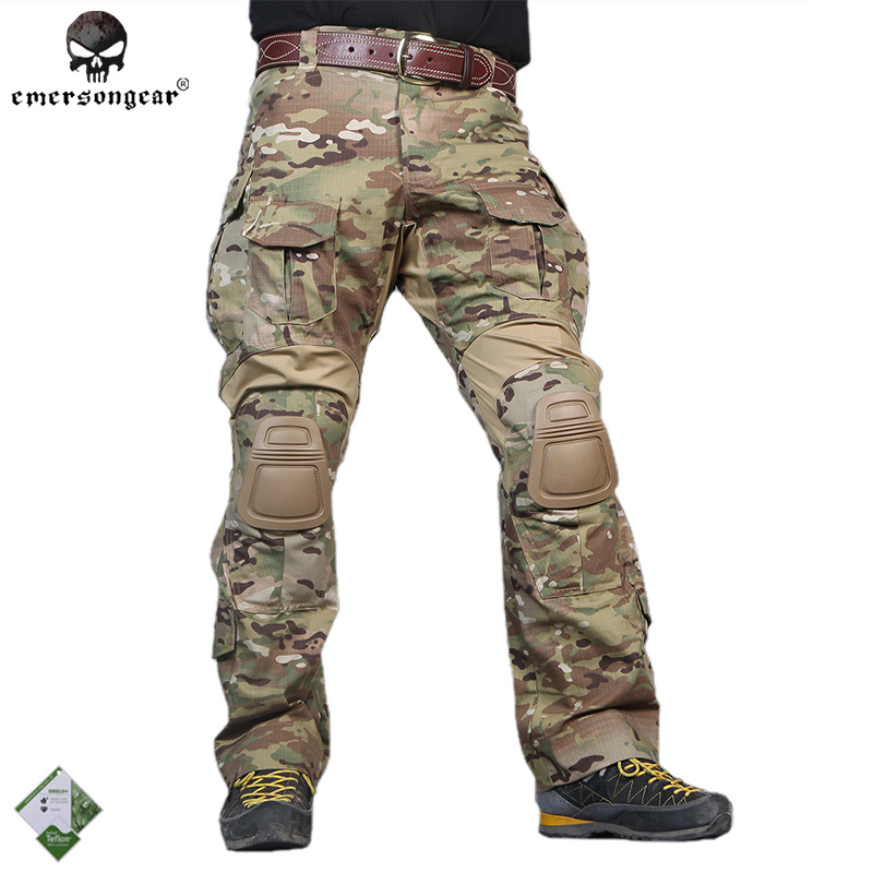 Emersongear Men G3 Tactical Multicam Camo Pants Hunting Airsoft Combat Trousers Army Cargo Pants Ripstop EM8527/9351 W/Knee Pads