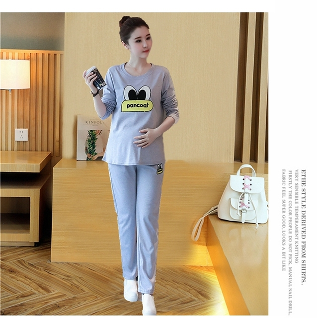 New Spring Autumn Maternity Clothing Sets T Shirts and Pants Maternity Sleepwear Cotton Sports Clothing Set Black Red Gray B166