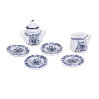 MACH Dcolor Set of 15pcs 1/12 Dollhouse Miniature Dining Ware Porcelain Tea Set Tea Pot+Dish+Cup+Plate---Blue фото
